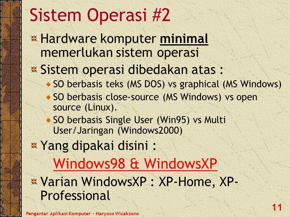 Pengantar Aplikasi Komputer – Haryoso Wicaksono 12 Antarmuka berbasis Grafis Antarmuka berbasis grafis (Graphical User Interface, GUI) adalah istilah yang digunakan untuk menjelaskan cara pemakai komputer berkomunikasi dengan komputer, umumnya terhadap SistemOperasi dan aplikasi lewat media grafis.