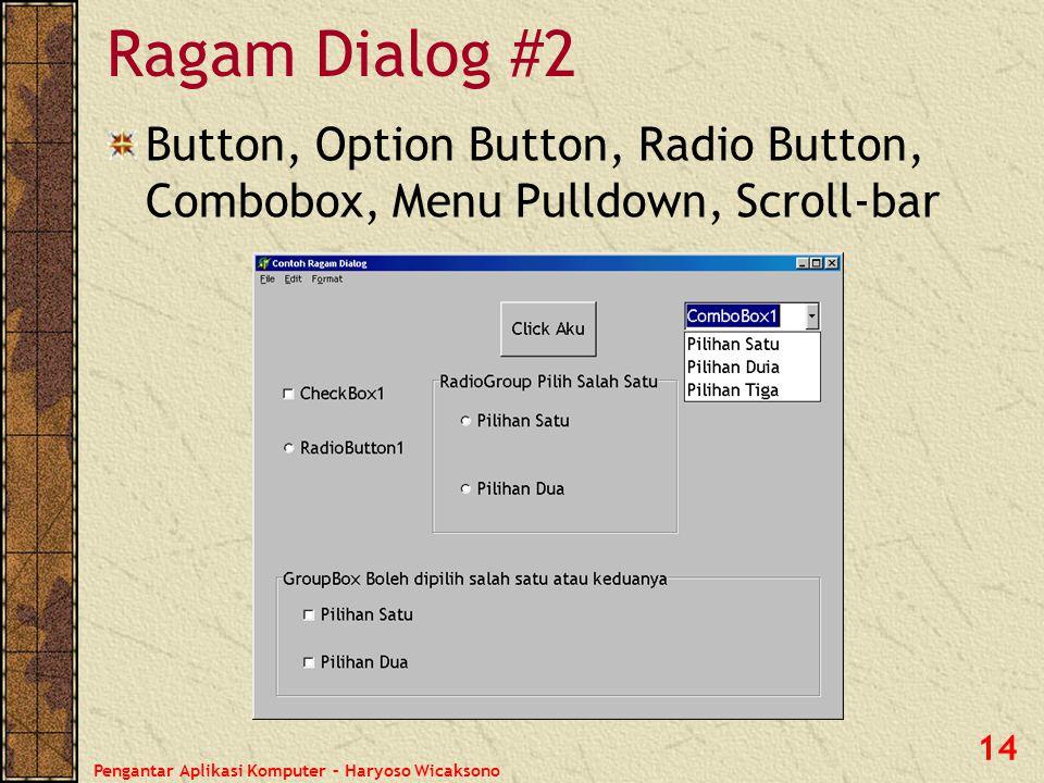 Pengantar Aplikasi Komputer – Haryoso Wicaksono 15 Keluarga Besar MS Windows Keluarga Microsoft Windows merupakan sistem operasi yang paling banyak dipakai di KomputerDesktop.