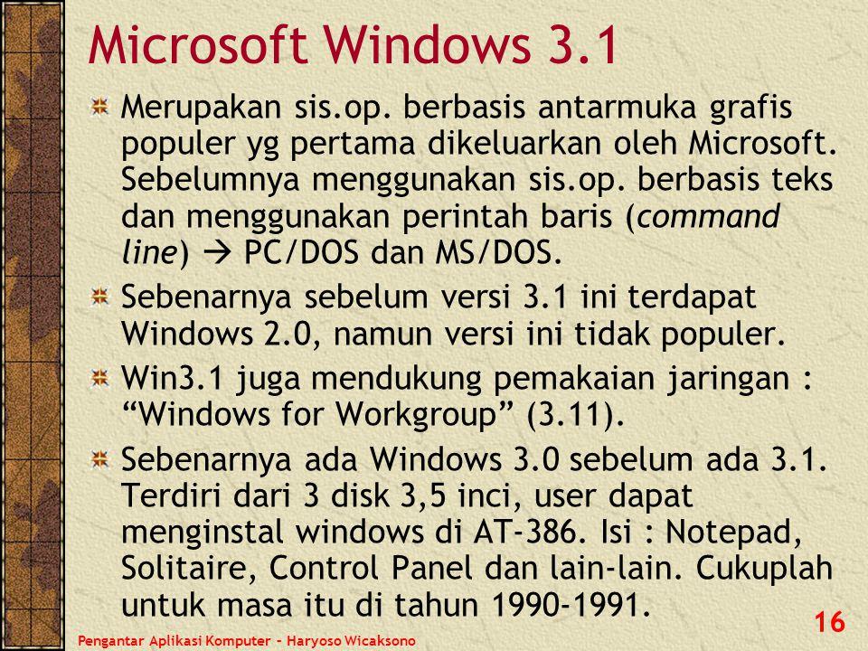 Pengantar Aplikasi Komputer – Haryoso Wicaksono 17 Microsoft Windows 9x Microsoft Windows 95 & Windows 98, disebut juga dengan keluarga Windows 9x.
