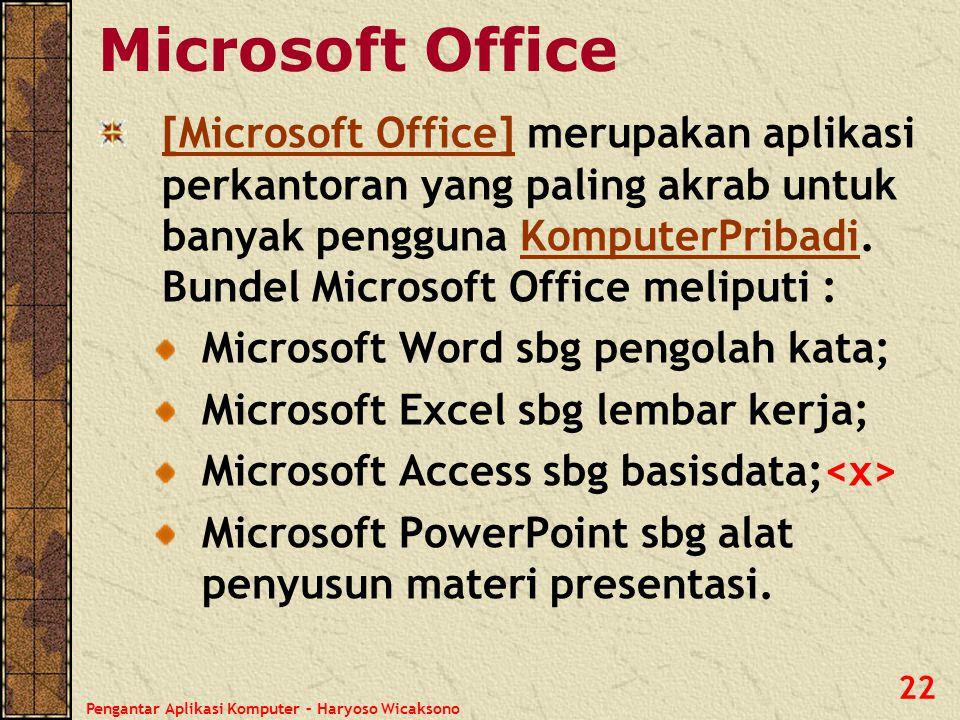 Pengantar Aplikasi Komputer – Haryoso Wicaksono 23 Open Office Open Office : aplikasi perkantoran alternatif dengan harga bersaing: gratis.