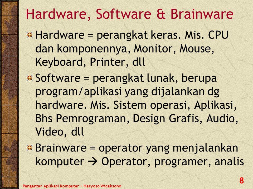 Pengantar Aplikasi Komputer – Haryoso Wicaksono 9 Input, Proses & Output Input = masukan yang akan diproses oleh sistem komputer.