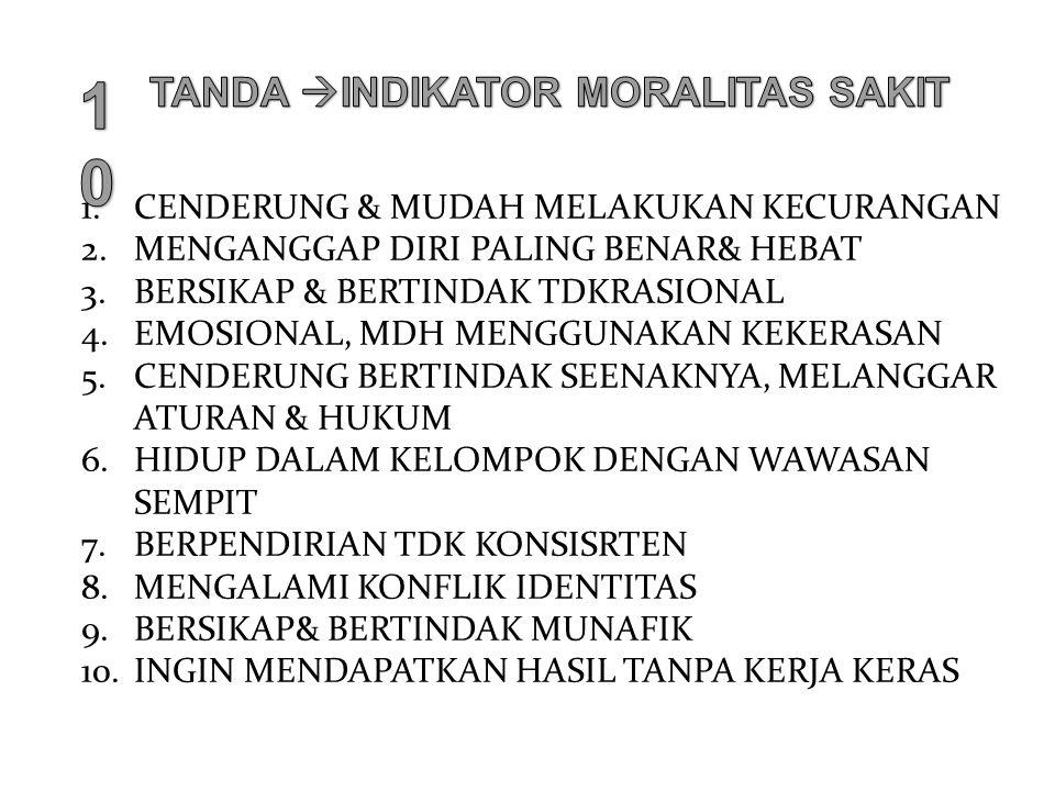 Moral Common Sense : 1.Hindari mencelakakan orang (avoid hidding other) 2.Jujur, jangan berbohong (do not lie and cheat) 3.Tapati janji dan kontrak ( keep promisea and cntracts)