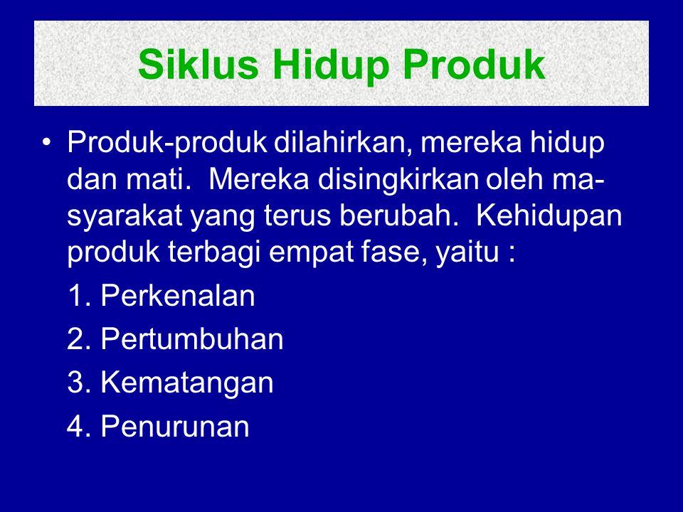 •Siklus hidup produk, penjualan, biaya, dan keuntungan.