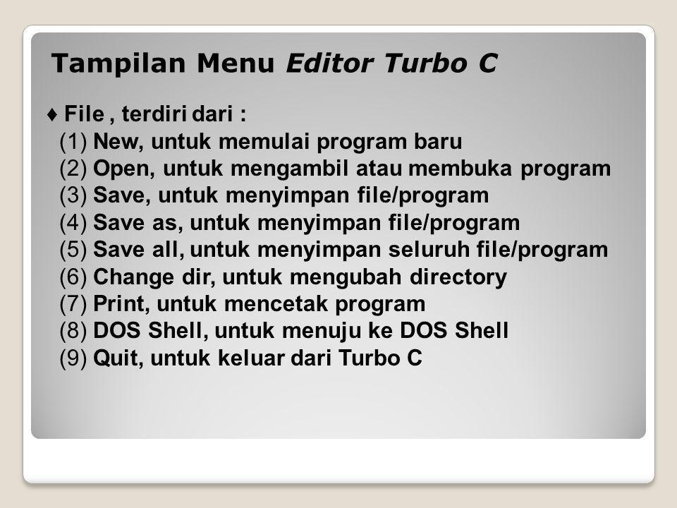 ♦ Edit, terdiri dari : (1) Undo, untuk membatalkan pengeditan terakhir (2) Redo, untuk kembali ke pengeditan terakhir yang telah di undo.