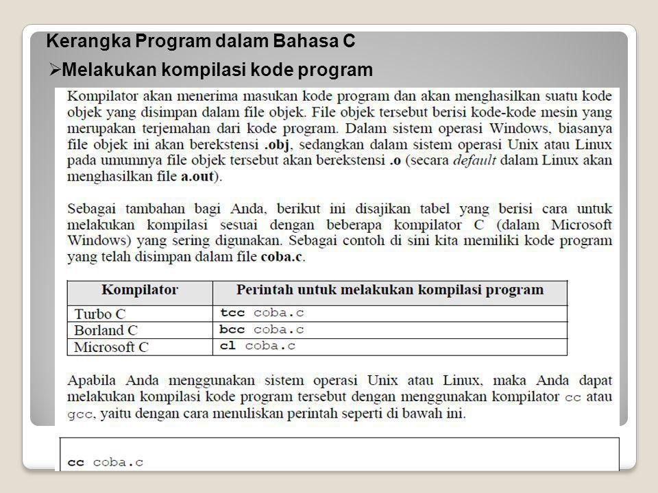 Kerangka Program dalam Bahasa C  Proses Linking