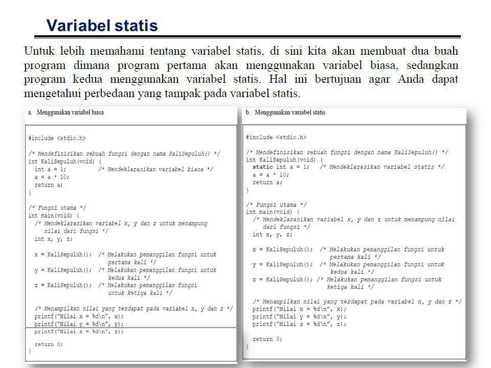 66 Variabel statis °Hasil yang diperoleh °Variabel biasa°Variabel Statis