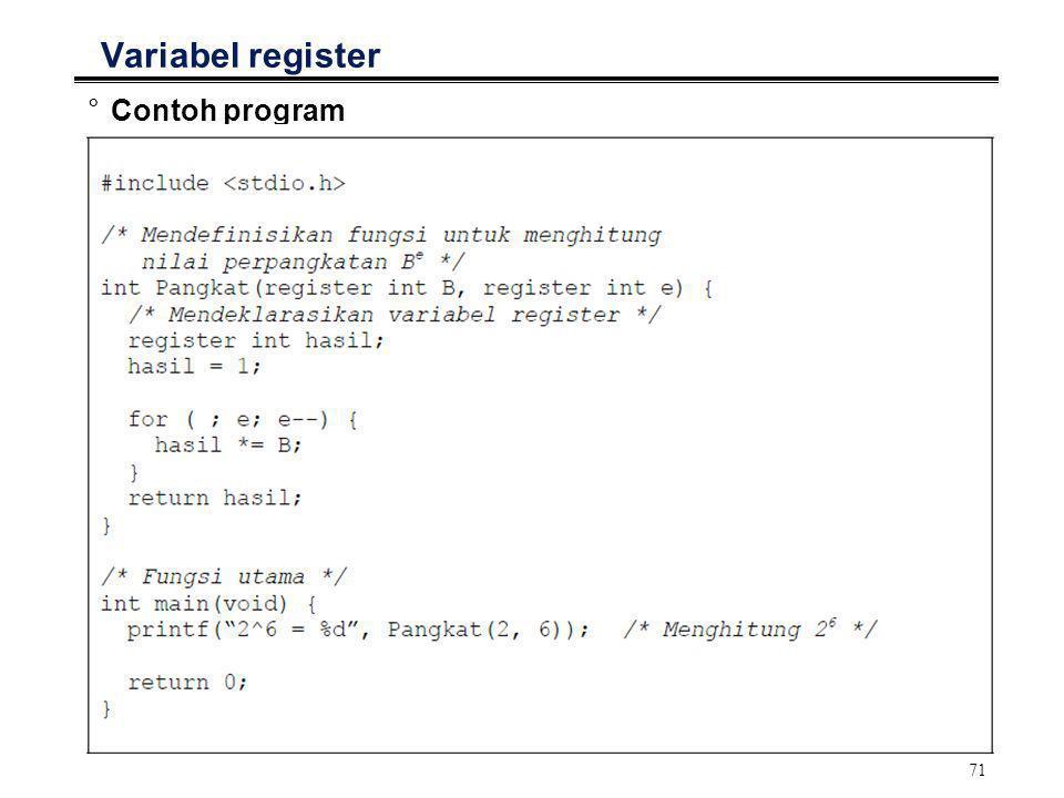 72 Variabel register