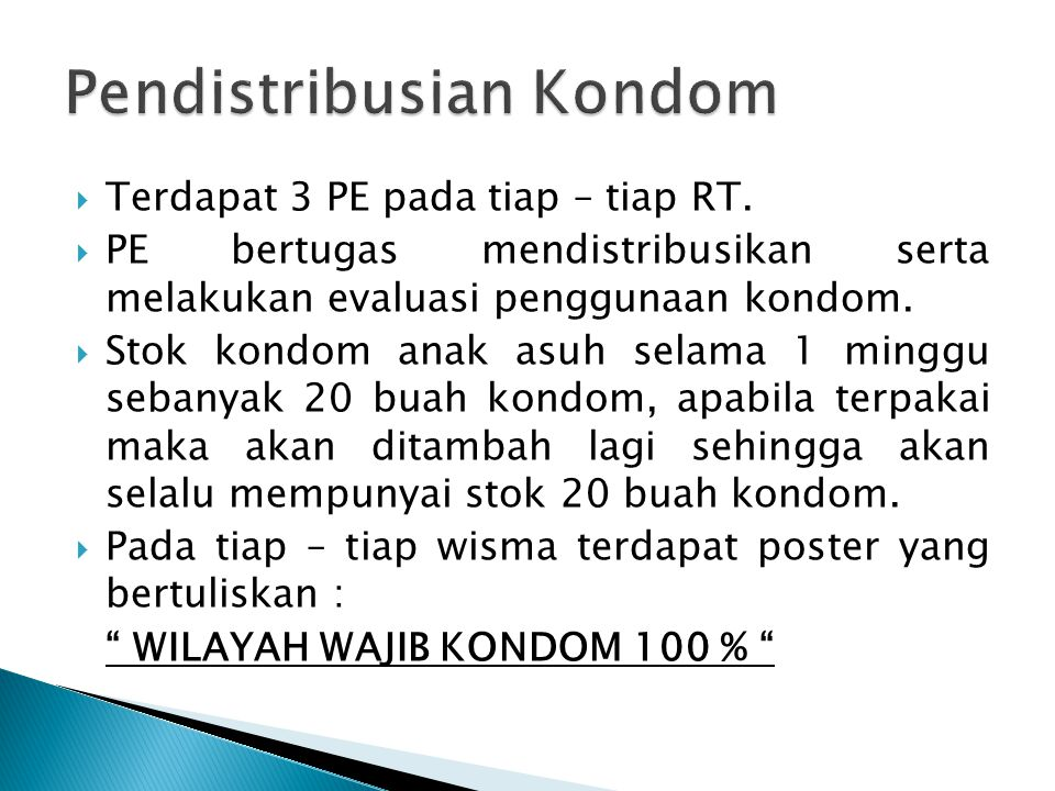  Untuk mengetahui status kesehatan / hasil pemakaian kondom maka dijadwalkan skrining :  RT 1,2,3 di Puskesmas Lebdosari, Tempat Klinik : Gedung Resos.