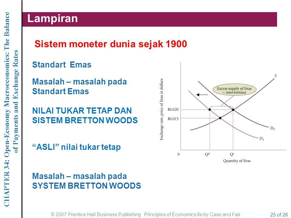 CHAPTER 34 : Open-Economy Macroeconomics: The Balance of Payments and Exchange Rates © 2007 Prentice Hall Business Publishing Principles of Economics 8e by Case and Fair 26 of 26 Lampiran Bretton Woods Situs di New Hampshire di mana sekelompok ahli dari 44 negara bertemu pada tahun 1944 dan setuju untuk sistem moneter internasional dari nilai tukar tetap.
