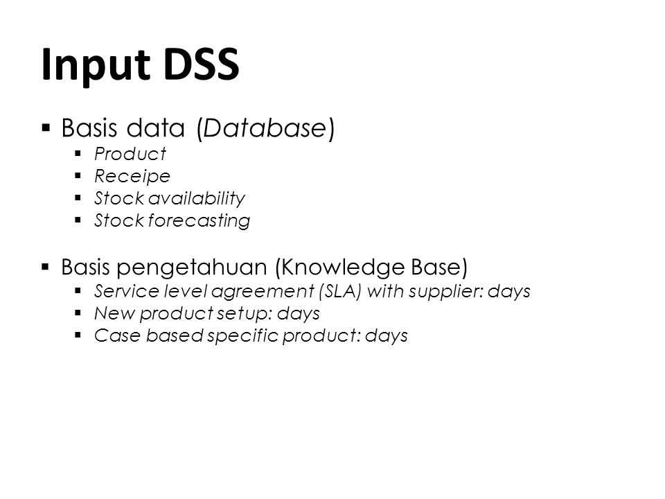 Kerangka Kerja DSS User Interface User Software Interface Database Knowledge Acquisition Knowledge Base (KB)Inference Engine DSS Shell