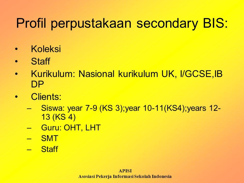 APISI Asosiasi Pekerja Informasi Sekolah Indonesia Penerapan LI - 1998: information skills oleh Teacher Librarian Strategi: -Pendekatan ke kepala sekolah dan guru-guru: mengundang rapat bersama -Kolaborasi guru dan guru pustakawan -2000-2001: vakum – Head of Libraries -2002: Library induction bagi IB -2005: Libraries' Manager -2006: Ketrampilan kemelekan informasi bagi Year 7
