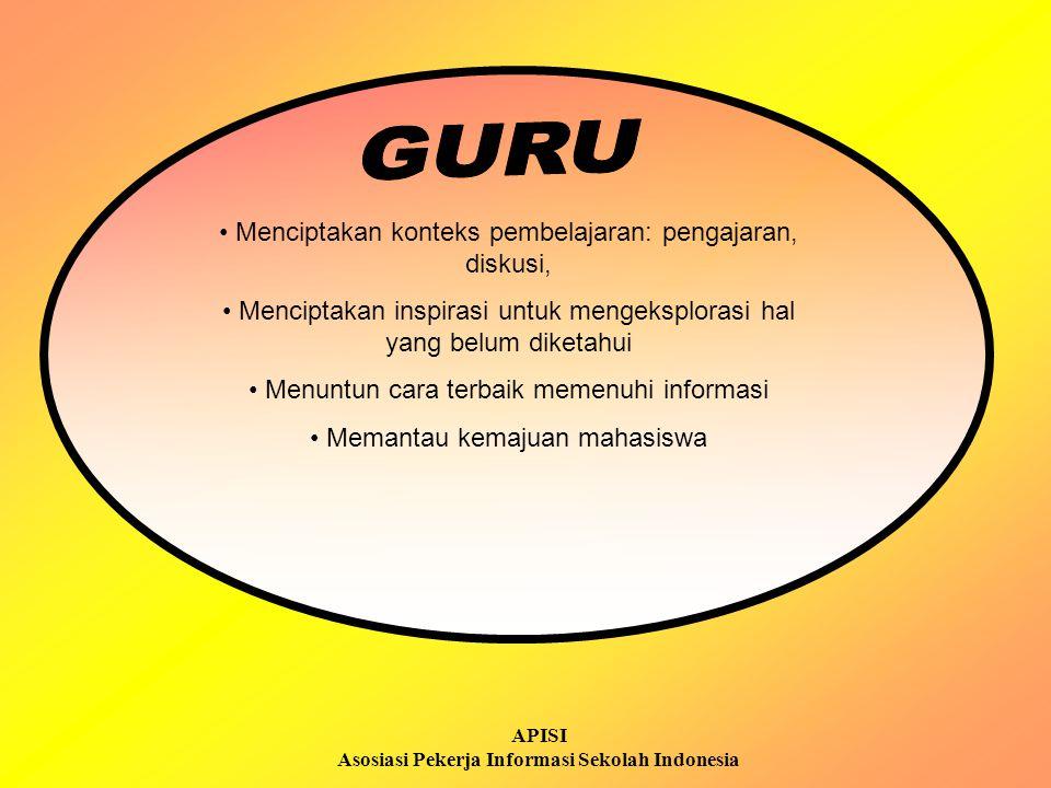APISI Asosiasi Pekerja Informasi Sekolah Indonesia Mengkoordinasi pemilihan dan pengevaluasian sumber-sumber intelektual untuk program dan layanan Mengatur dan memelihara koleksi dan akses informasi lain Menyediakan instruksi kepada mahasiswa dan staf dosen yang mencari informasi