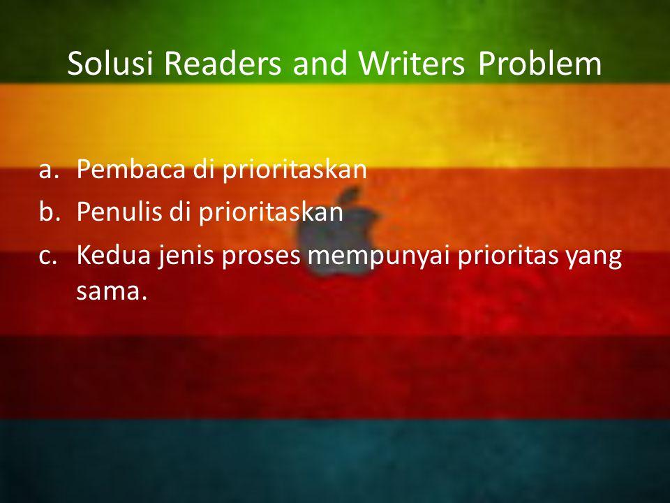 Solusi Pembaca di Prioritaskan Reader tidak akan menunggu reader(s) lain yang sedang membaca, walaupun ada writer yang sedang menunggu.