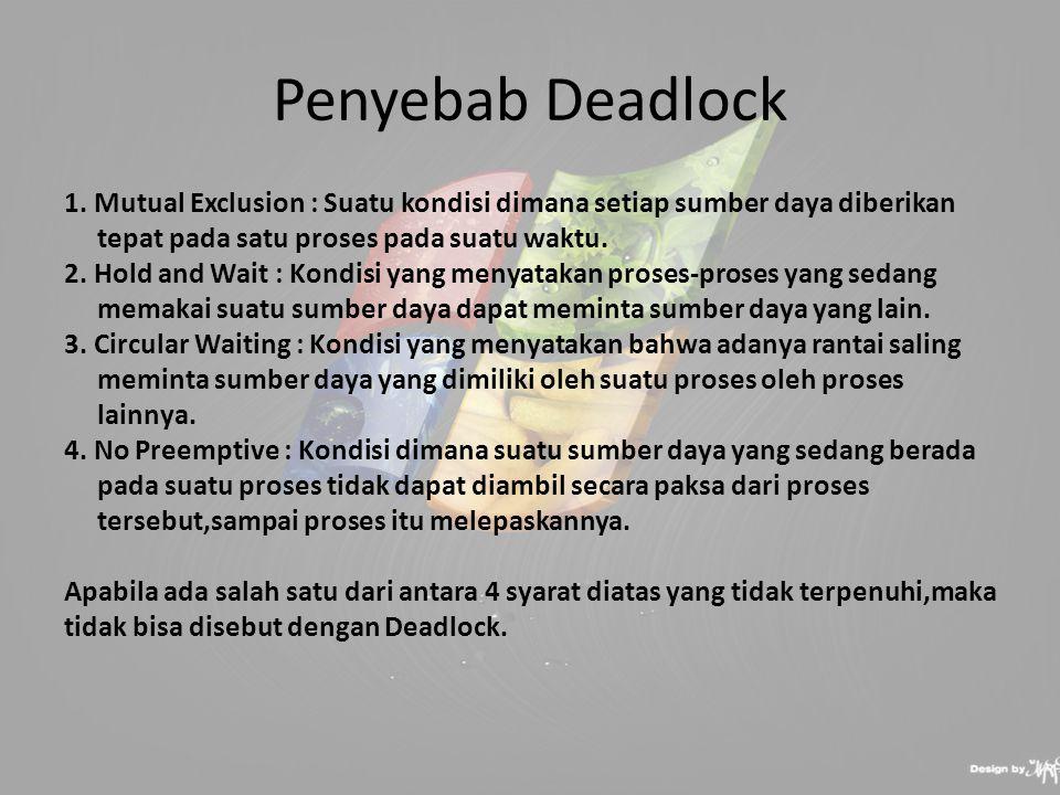 Cara Mengatasi Deadlock  Prevention : memastikan paling sedikit satu penyebab Deadlock tidak berlaku  Avoidance : sistem menolak request terhadap resource yang berpotensi deadlock, Algoritma Banker  Detection and Recovery : membiarkan Deadlock terjadi, lalu mendeteksinya, kemudian melakukan recovery, Algoritma Ostrich