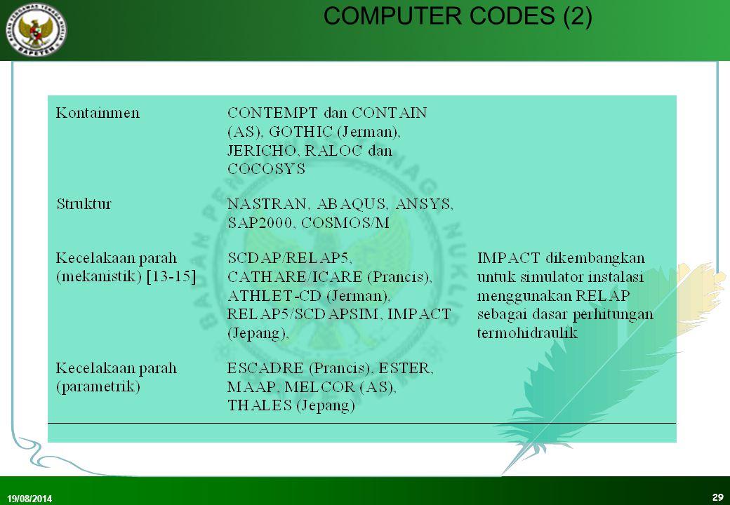 19/08/2014 30 COMPUTER CODES (3) Kopling computer codes: neutronik dan termohidraulik Dalam analisis kecelakaan digunakan bermacam-macam computer codes Verifikasi: checking dg.