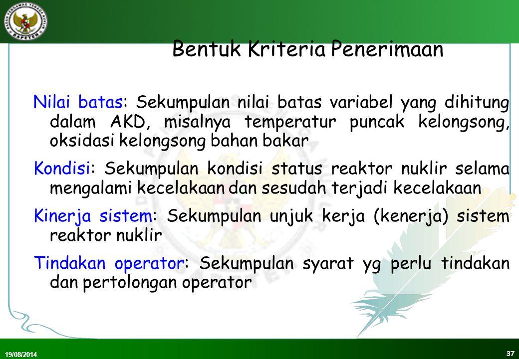 19/08/2014 38 Kondisi Operasi Normal(1) KKB 02/1999 Kadar tertinggi radionuklida yg diizinkan di air & udara (Bq/l) Batas Masukan Tahunan radionuklida melalui saluran pencernaan & pernafasan (Bq) PKB 4/1999 NBD utk anggota masyarakat umum dlm setahun : seluruh tubuh: 1 mSv (100 mrem) lensa mata : 15 mSv (1500 mrem) kulit : 50 mSv (5000 mrem)