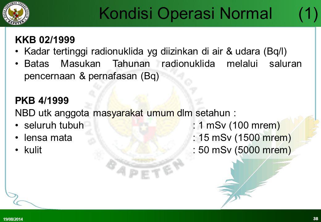 19/08/2014 39 Kondisi Operasi Normal(2) Randerson (1984) KKB 06-P/2000 Pd Bab 12.