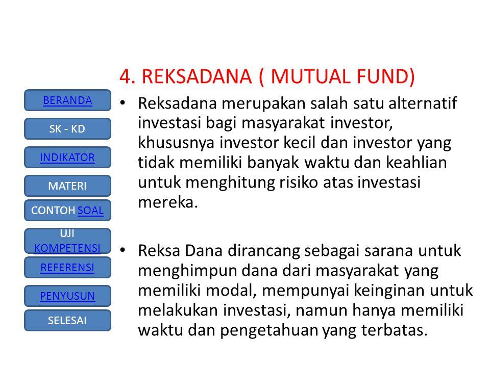 BERANDA SK - KD INDIKATOR MATERI CONTOH SOALSOAL UJI KOMPETENSI KOMPETENSI REFERENSI PENYUSUN SELESAI Dilihat dari asal kata-nya, Reksa Dana berasal dari kosa kata 'reksa' yang berarti 'jaga' atau 'pelihara' dan kata 'dana' yang berarti (kumpulan) uang, sehingga reksa dana dapat diartikan sebagai 'kumpulan uang yang dipelihara (bersama untuk suatu kepentingan)'.