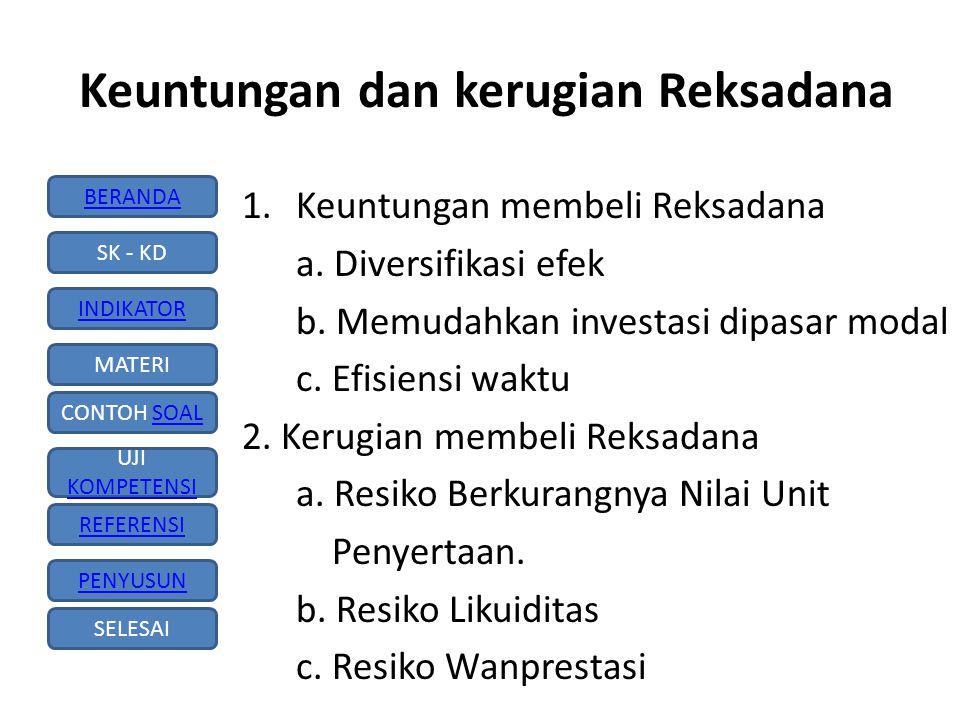 BERANDA SK - KD INDIKATOR MATERI CONTOH SOALSOAL UJI KOMPETENSI KOMPETENSI REFERENSI PENYUSUN SELESAI Reksadana dapat dibedakan menjadi: 1.