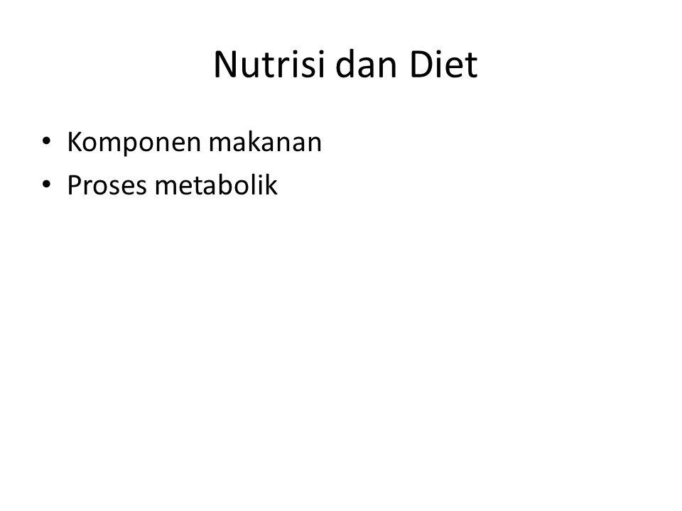 Komponen Makanan Diet sehat dilengkapi jumlah optimal semua nutrisi penting untuk kebutuhan metabolik tubuh.
