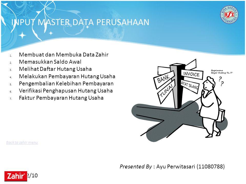 11/22/10 ANALISA IMPLEMENTASI ZAHIR Tinjauan KasusSpesifikasi Rancangan Program 1.