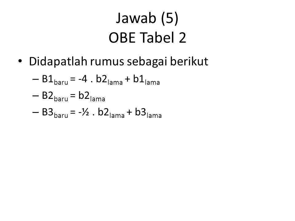 Jawab (6) Tabel 3 Bentuk tabel 2 karena nilai belum optimal.