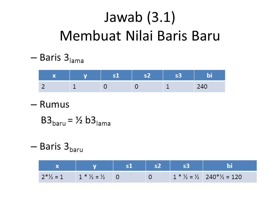 Jawab (3.2) Membuat Nilai Baris Baru – Baris 1 lama – Rumus B1 baru = -1.