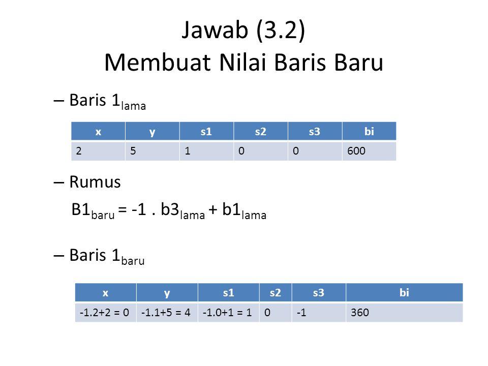 Jawab (3.3) Membuat Nilai Baris Baru – Baris 2 lama – Rumus B2 baru = -2.