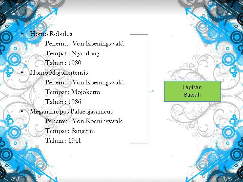 Soal nomor 4 : Tulislah manusia purba dan hasil budayanya Pithecanthropus Erectus Homo 1.Kapak Perimbas 2.Kapak Penetak 3.Kapak Genggam 4.Pahat Genggam 5.Alat Serpih 6.Alat-alat Tulang 1.Kapak gengam / Kapak perimbas 2.