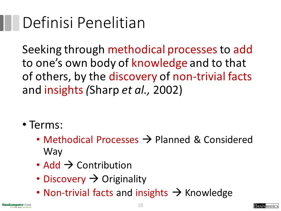 Definisi Penelitian Research is a considered activity, which aims to make an original contribution to knowledge (Dawson, 2009) Terms: Original Contribution: Kontribusi Orisinil To Knowlegde: Untuk Pengetahuan 11