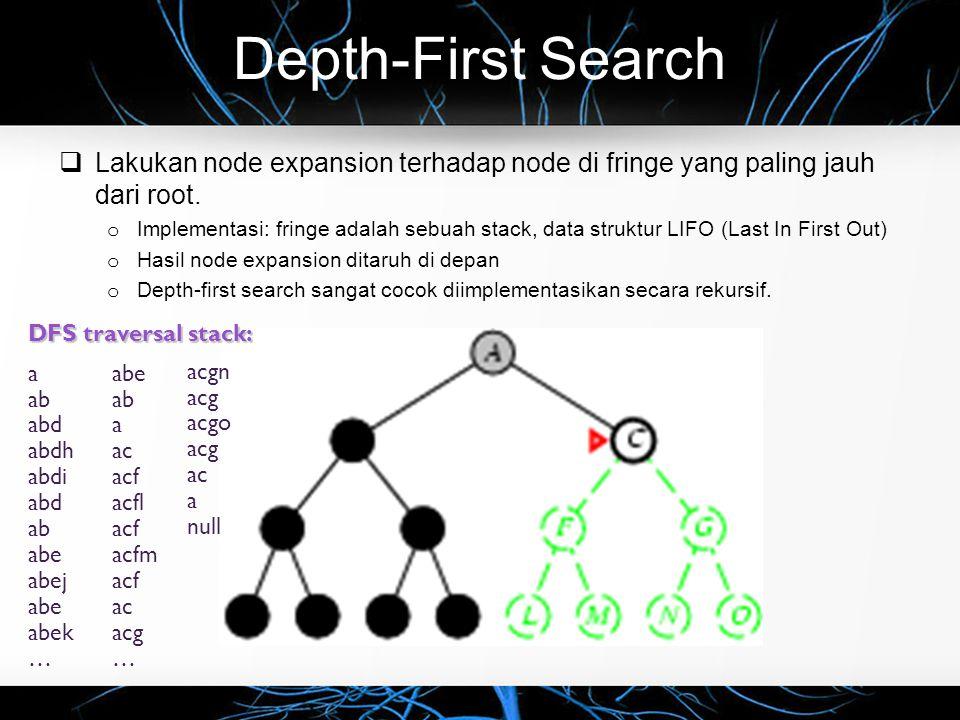 Depth-First Search  Lakukan node expansion terhadap node di fringe yang paling jauh dari root.