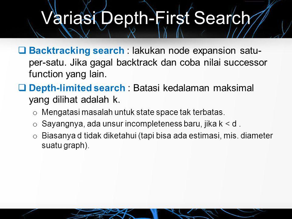 Iterative-Deepening Search  Lakukan depth-limited search secara bertahap dengan nilai k yang incremental.