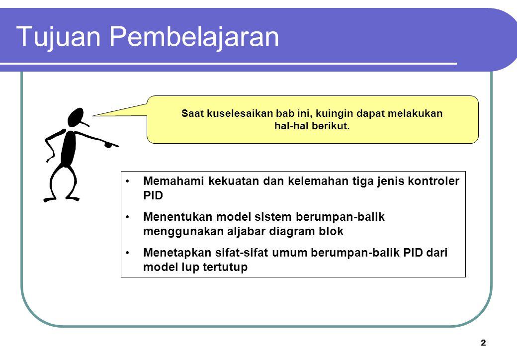 3 Kerangka Kuliah Fitur-fitur umum dan sejarah PID Model Proses dan kontroler – Diagram Blok Tiga jenis kontroler dengan fitur-fiturnya - Proportional - Integral - Derivative Perilaku dinamik yang khas Kerangka Kuliah