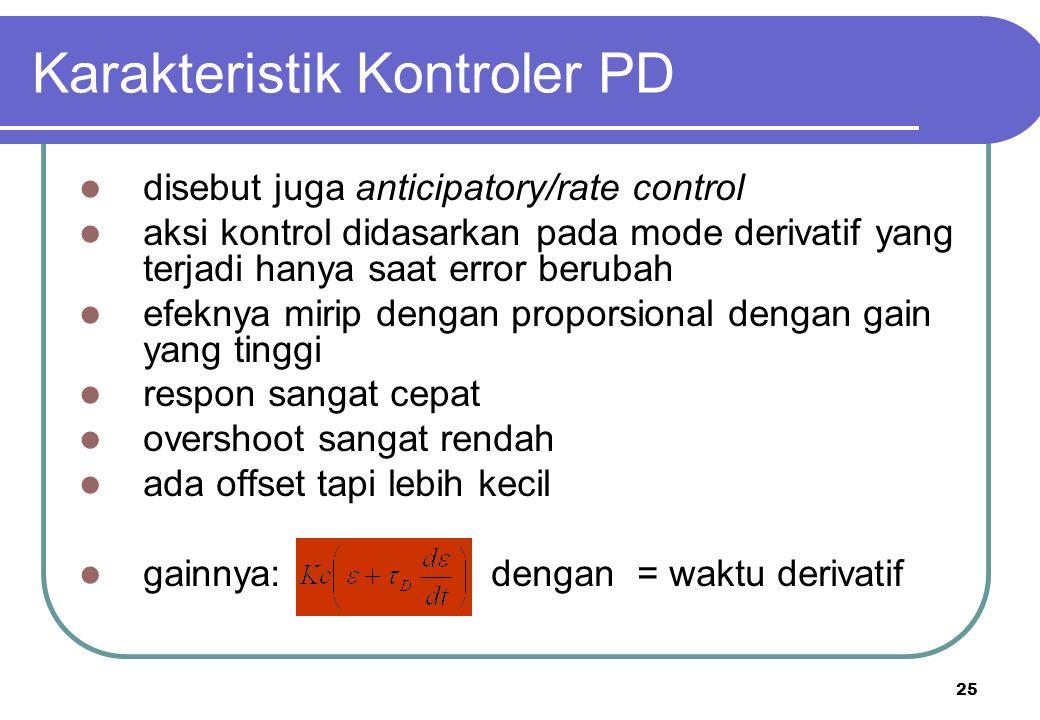 26 PROCESS Proportional Integral Derivative + + - CV SP E MV Note: Error = E  SP - CV Mari kita kombinasikan jenis-jenis kontroler untuk merumuskan Kontroler PID.