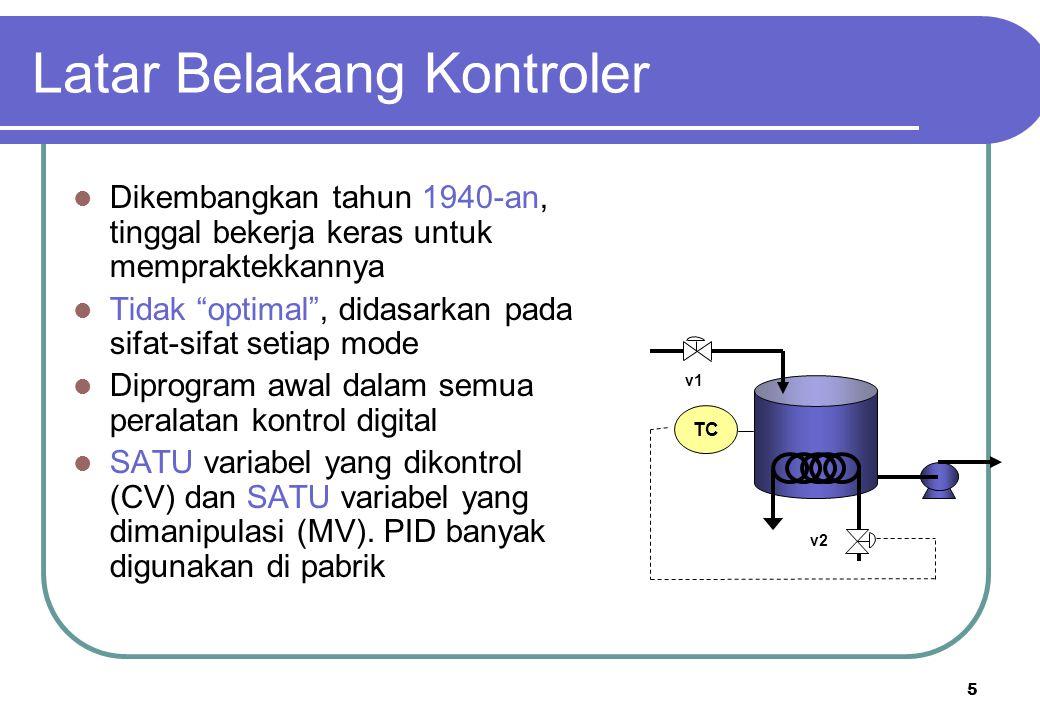 6 PROSES Proportional Integral Derivative + + - sensor CV = Controlled variable SP = Set pointE Final element Process variable MV = controller output Catatan: Error = E  SP - CV Tiga jenis : Tiga cara menggunakan perilaku variasi waktu dari variabel yang diukur Jenis Kontroler