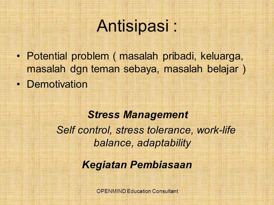 Antisipasi : Potential problem ( masalah pribadi, keluarga, masalah dgn teman sebaya, masalah belajar ) Demotivation Stress Management Self control, stress tolerance, work-life balance, adaptability Kegiatan Pembiasaan OPENMIND Education Consultant
