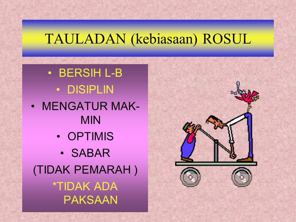 TAULADAN (kebiasaan) ROSUL BERSIH L-B DISIPLIN MENGATUR MAK- MIN OPTIMIS SABAR (TIDAK PEMARAH ) *TIDAK ADA PAKSAAN