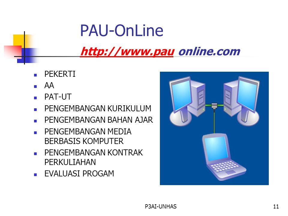 P3AI-UNHAS11 PAU-OnLine http://www.pau online.com http://www.pau PEKERTI AA PAT-UT PENGEMBANGAN KURIKULUM PENGEMBANGAN BAHAN AJAR PENGEMBANGAN MEDIA BERBASIS KOMPUTER PENGEMBANGAN KONTRAK PERKULIAHAN EVALUASI PROGAM