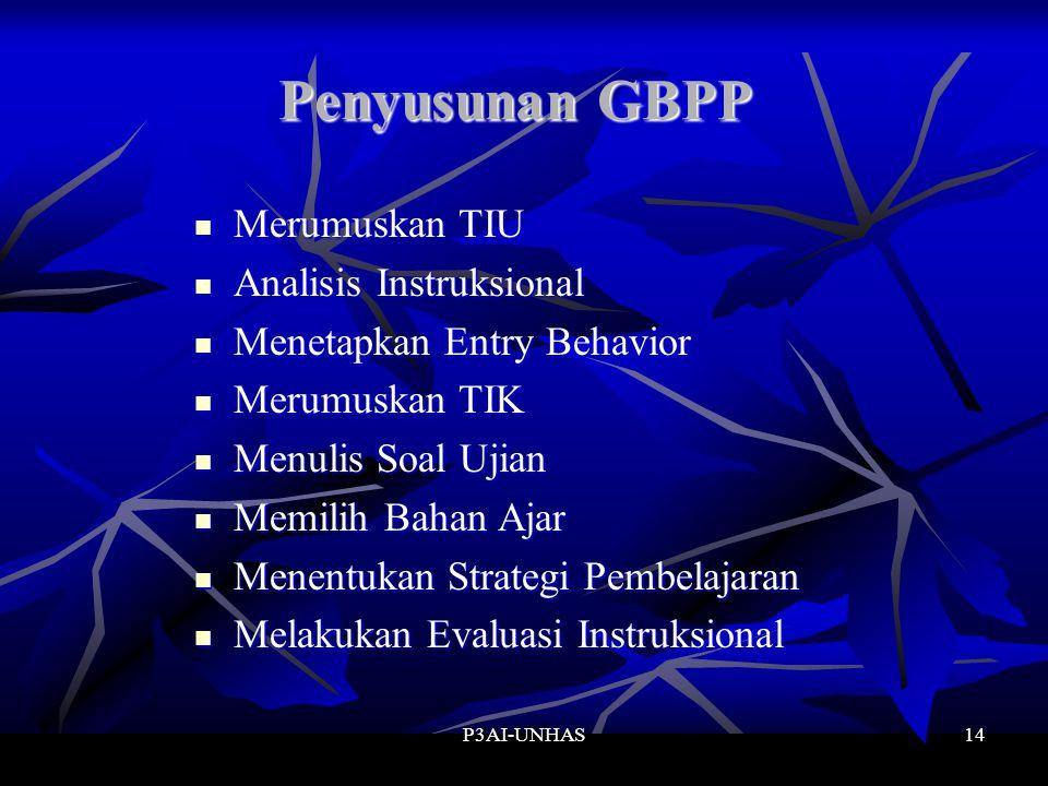 P3AI-UNHAS14 Penyusunan GBPP Merumuskan TIU Analisis Instruksional Menetapkan Entry Behavior Merumuskan TIK Menulis Soal Ujian Memilih Bahan Ajar Menentukan Strategi Pembelajaran Melakukan Evaluasi Instruksional