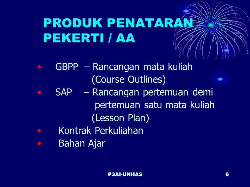P3AI-UNHAS6 PRODUK PENATARAN PEKERTI / AA GBPP – Rancangan mata kuliah (Course Outlines) SAP – Rancangan pertemuan demi pertemuan satu mata kuliah (Lesson Plan) Kontrak Perkuliahan Bahan Ajar