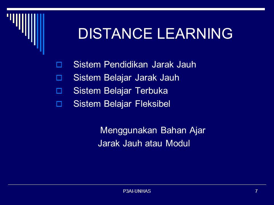 P3AI-UNHAS7 DISTANCE LEARNING  Sistem Pendidikan Jarak Jauh istem Belajar Jarak Jauh istem Belajar Terbuka istem Belajar Fleksibel Menggunakan Bahan Ajar Jarak Jauh atau Modul