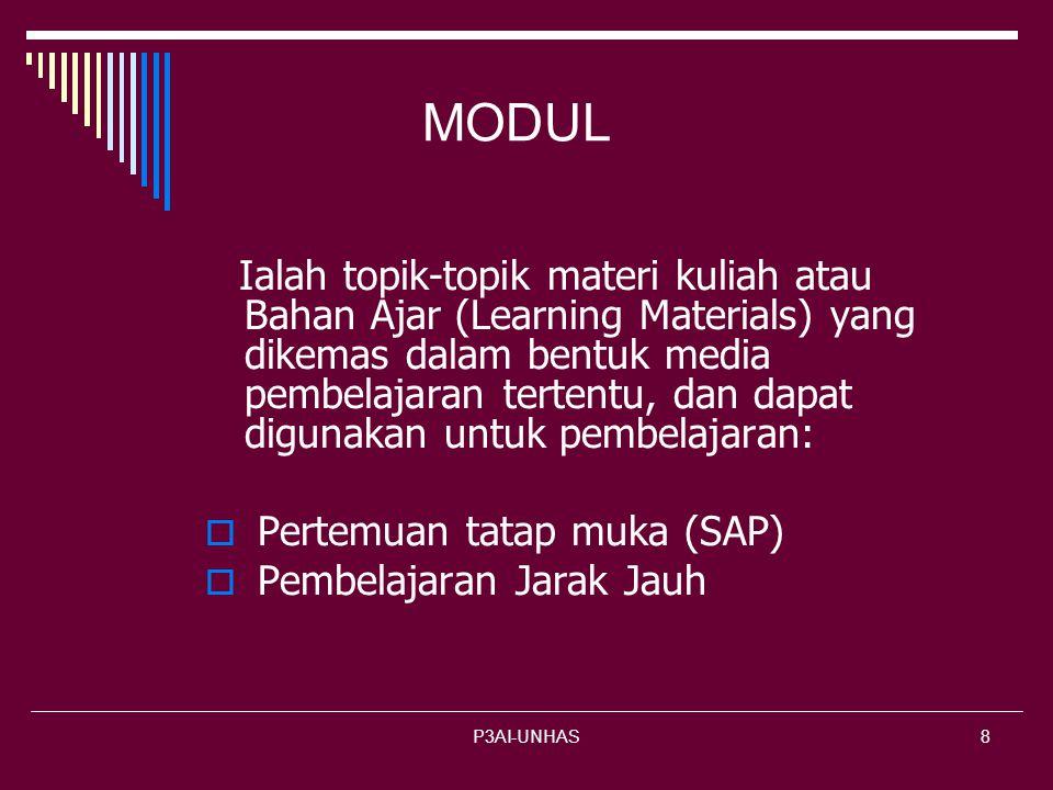 P3AI-UNHAS8 MODUL Ialah topik-topik materi kuliah atau Bahan Ajar (Learning Materials) yang dikemas dalam bentuk media pembelajaran tertentu, dan dapat digunakan untuk pembelajaran:  Pertemuan tatap muka (SAP) embelajaran Jarak Jauh