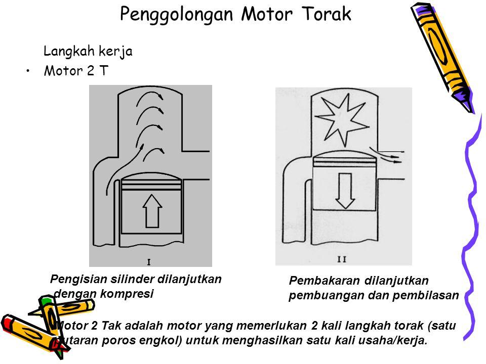 Penggolongan Motor Torak Langkah kerja Motor 2 T Pengisian silinder dilanjutkan dengan kompresi Pembakaran dilanjutkan pembuangan dan pembilasan Motor 2 Tak adalah motor yang memerlukan 2 kali langkah torak (satu putaran poros engkol) untuk menghasilkan satu kali usaha/kerja.