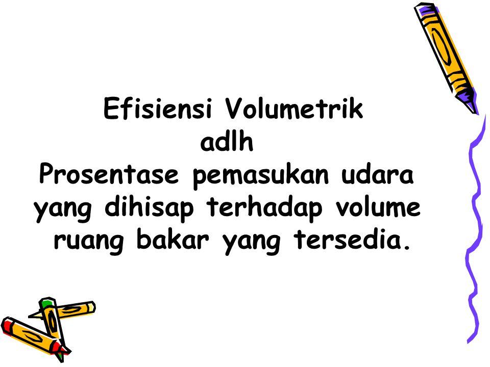 Efisiensi Volumetrik adlh Prosentase pemasukan udara yang dihisap terhadap volume ruang bakar yang tersedia.