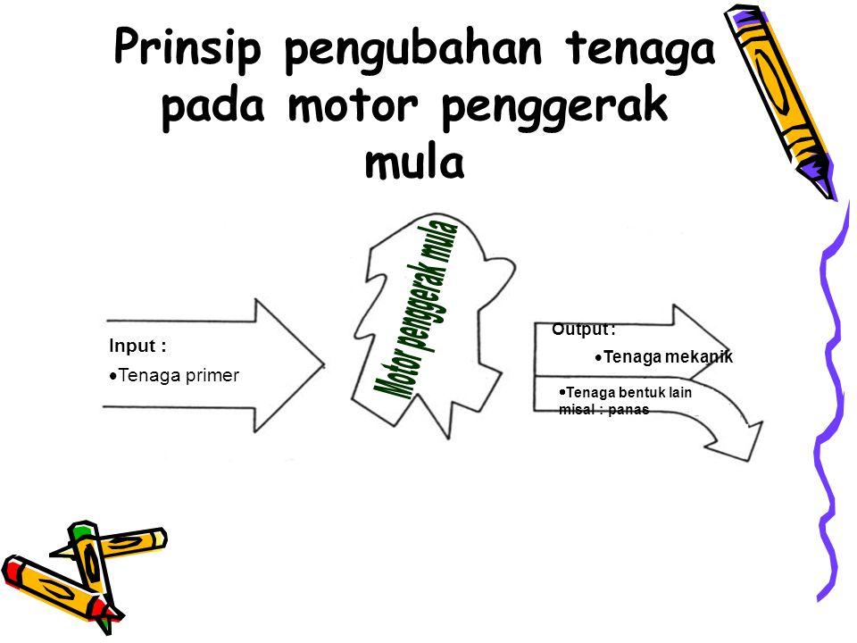 Prinsip pengubahan tenaga pada motor penggerak mula Input :  Tenaga primer  Tenaga bentuk lain misal : panas Output :  Tenaga mekanik