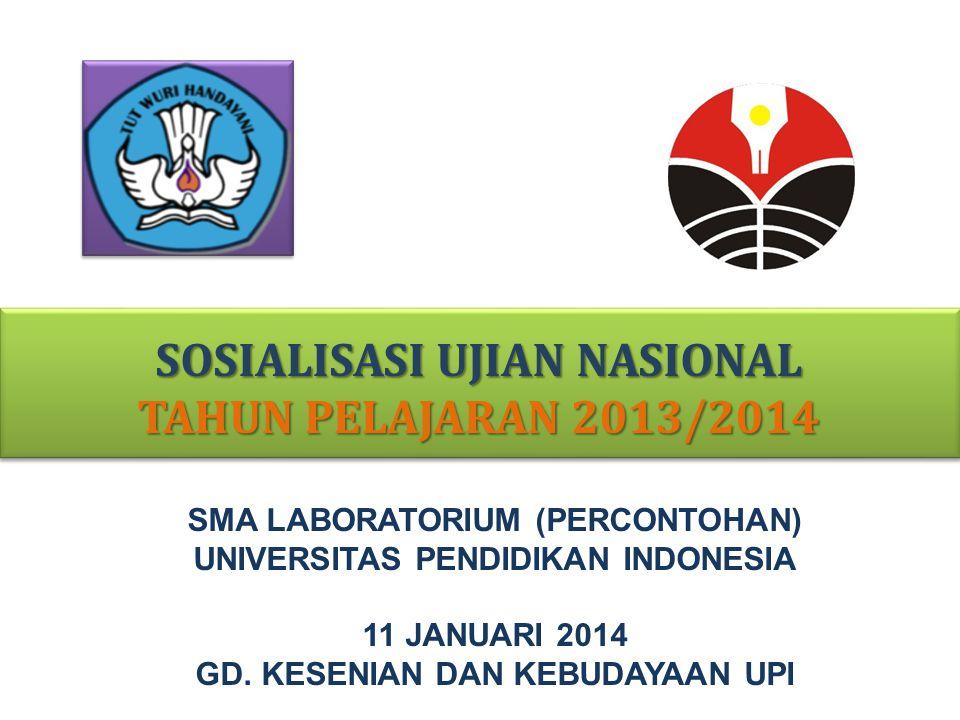 DASAR HUKUM Peraturan Menteri Pendidikan dan Kebudayaan Nomor 97 Tahun 2013 Tentang Kriteria Kelulusan Peserta Didik dari Satuan Pendidikan dan Penyelenggaraan Ujian Sekolah (S) / Madrasah (M) / Pendidikan Kesetaraan (PK) dan Ujian Nasional Peraturan BSNP NOMOR : 0022/P/BSNP/XI/2013 Tentang PROSEDUR OPERASIONAL STANDAR (POS) PENYELENGGARAAN UN SEKOLAH (S)/MADRASAH (M)/ PENDIDIKAN KESETARAAN (PK)