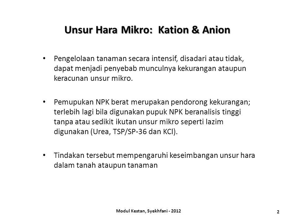Unsur mikro kation meliputi: Fe, Mn, Cu, dan Zn.