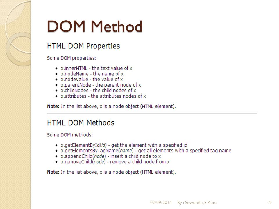 DOM How To Merubah HTML Element Contoh : document.body.bgColor= lavender ; 02/09/2014By : Suwondo, S.Kom5