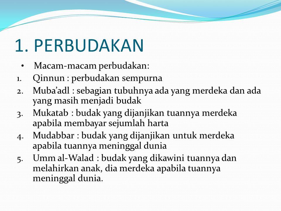Ulama sepakat bahwa Budak qinnun, mudabbar, ummu al-walad dan mukatab (yang belum bisa melunasi harta yang dijanjikan tuannya sampai tuannya meninggal dunia) tidak bisa menerima warisan apabila muwaritsnya meninggal dunia dan dia juga tidak bisa mewariskan hartanya kepada para ahli warisnya.