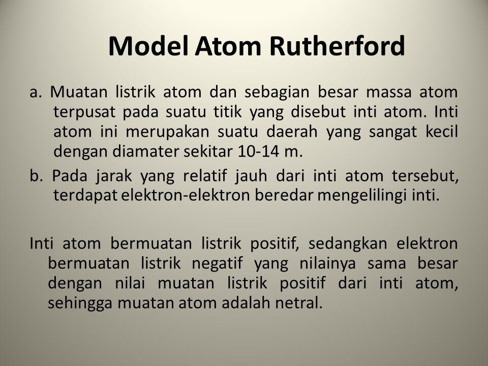 Kelemahan teori atom Rutherford a.Teori atom Rutherford tidak dapat menjelaskan spektrum cahaya yang dipancarkan oleh atom hidrogen ketika gas hidrogen tersebut dipanaskan atau dimasukkan ke dalam tabung dan diberi beda potensial listrik serah yang tinggi antara ujung-uung tabung tersebut.